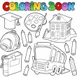 Stock Vector: Coloring book school cartoons 9