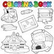 Stock Vector: Coloring book school collection 1