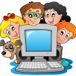 Stock Vector: Computer with cartoon kids and dog
