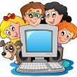Computer with cartoon kids and dog — Stockvectorbeeld