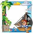 Stock Vector: Frame with sea and pirate theme 5