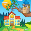 Stock Vector: Owl teacher with school building