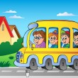 Road with school bus 1 — 图库矢量图片