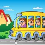 strada con scuolabus 1 — Vettoriale Stock