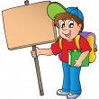 School boy holding wooden board — Stock Vector