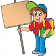 School boy holding wooden board — Stock Vector #6453943