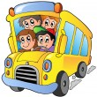 School bus with happy children — Stok Vektör