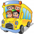 School bus with happy children — Stockvektor