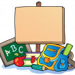 School theme with wooden board - Stock Vector