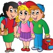 Three happy school kids - Imagen vectorial