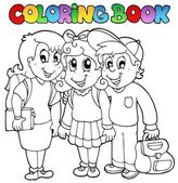 Coloring book school cartoons 6 — Stock Vector