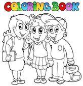 Coloring book school cartoons 6 — Stock Vector