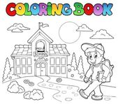 Coloring book school cartoons 7 — Stock Vector