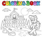 Coloring book school cartoons 7 — Stock Vector
