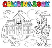 Coloring book school cartoons 8 — Stock Vector