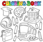 Coloring book school cartoons 9 — Stock Vector