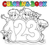 Coloring book school numbers — Stock Vector