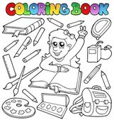Coloring book school topic 1 — Stock Vector