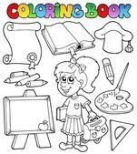 Coloring book school topic 2 — Stock Vector