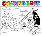 Coloring book with pirate in boat — Stock Vector
