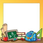 Frame with school supplies 1 — Stock Vector