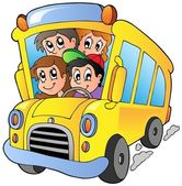 School bus with happy children — Stock Vector