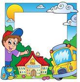 School theme frame 1 — Stock Vector
