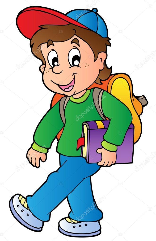Niño de dibujos animados caminando a la escuela — Vector ...