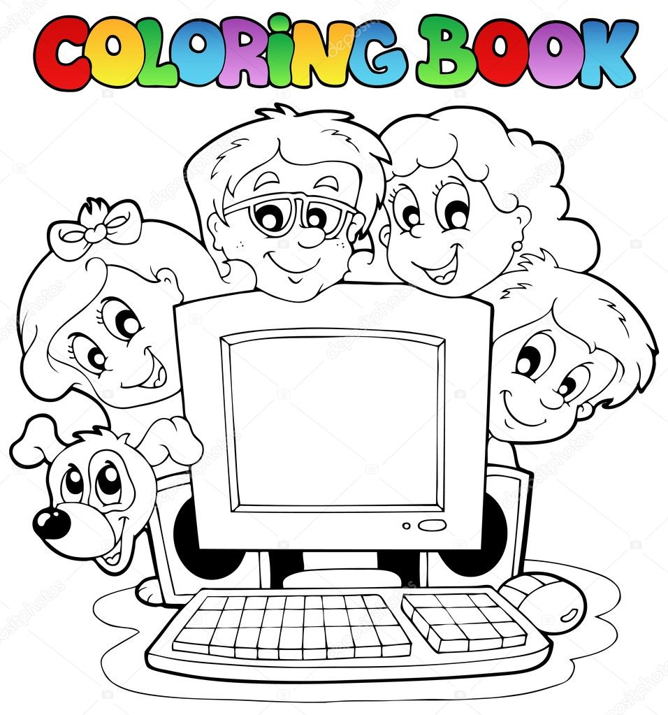 Coloring Book For Pc Computer And Kids Stock Vector Clairev