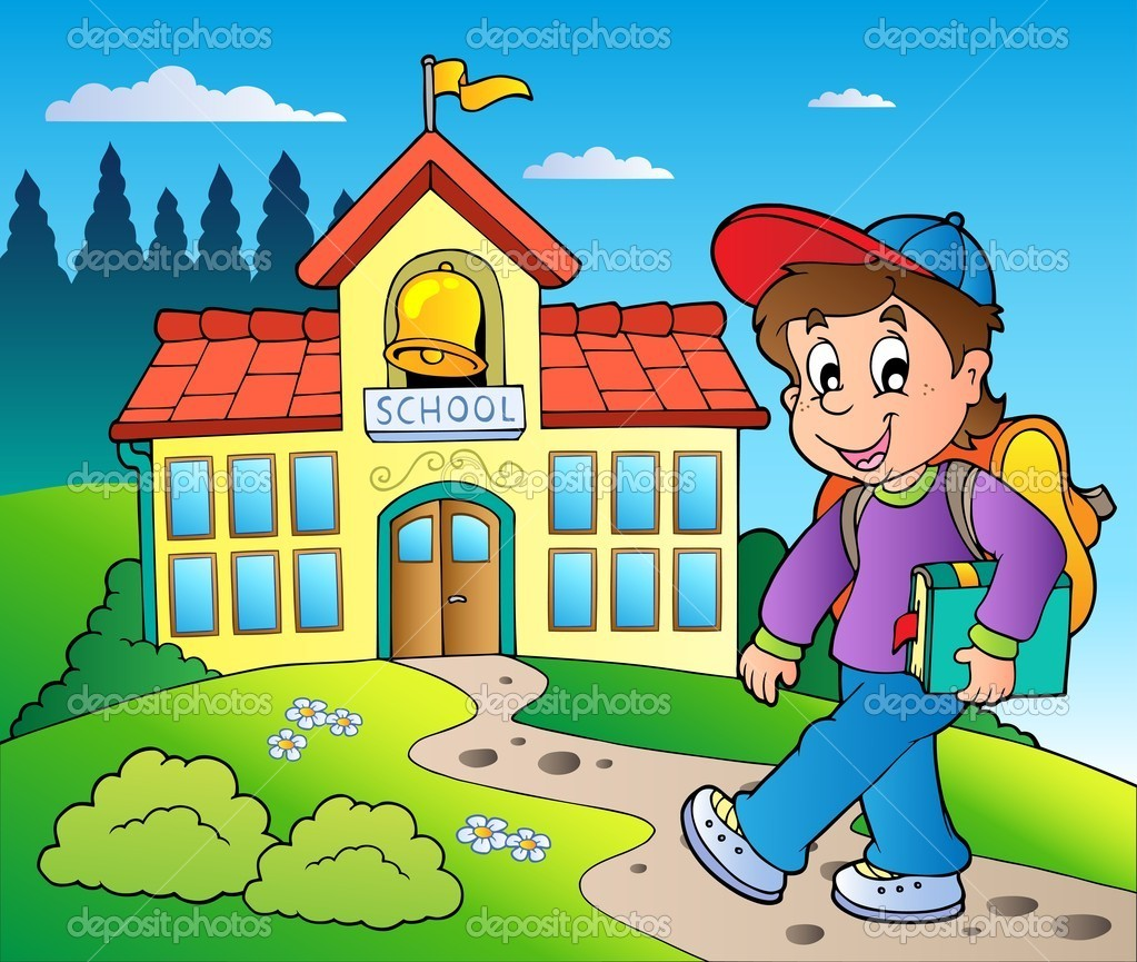 Theme with boy and school building — Stock Vector © clairev