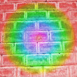 Abstract damaged rainbow brick wall, rainbow colors. — Stock Photo