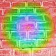 Abstract damaged rainbow brick wall, rainbow colors. — Stock Photo #5547253