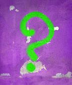 Groene vraag teken op muur, vintage details — Stockfoto