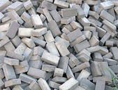 Random brick heap, industry details. — Stock Photo
