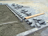 New brick road construction, industry details. — Stock Photo