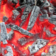 Campfire with hot coal, fire closeup. — Stockfoto