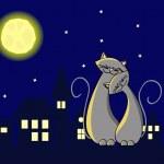 gatos de noche — Vector de stock
