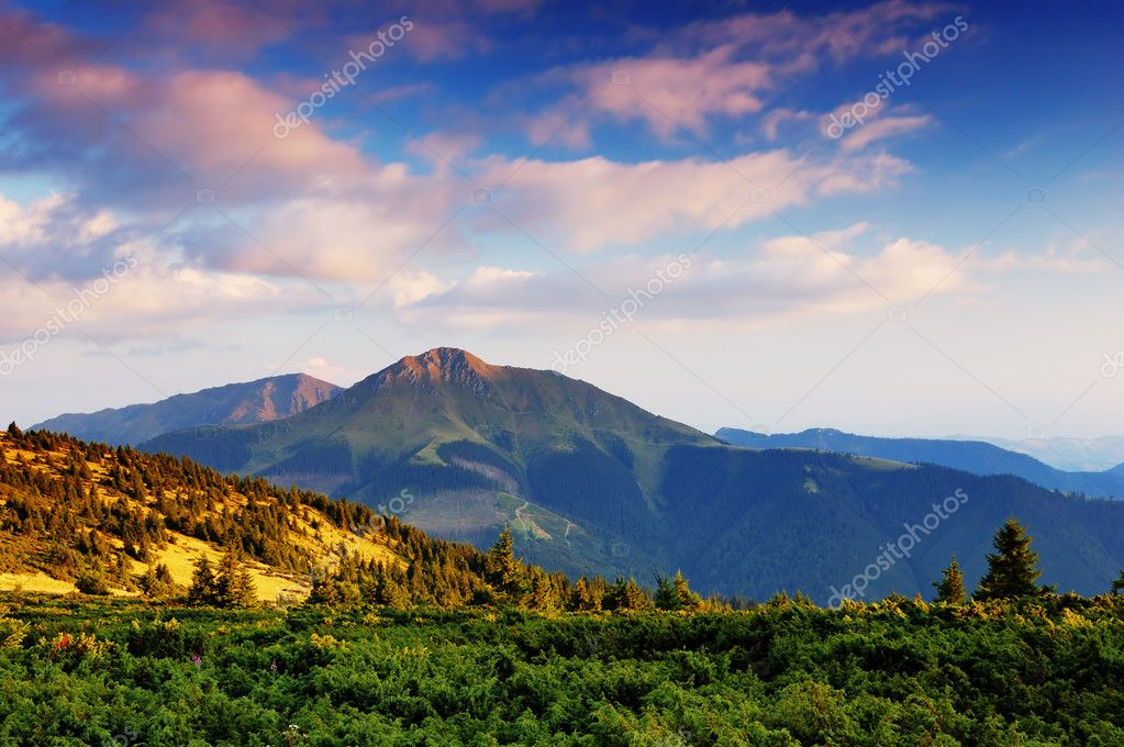 Summer landscape in mountains and the dark blue sky with clouds  Stock Photo #5896202