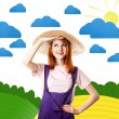 Young girl in overalls at art countryside. — Stockfoto