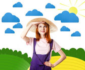 在艺术农村工作服的年轻女孩. — 图库照片