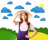 Jong meisje in amerikaanse overalls op kunst platteland. — Stockfoto