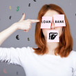 Portrait of redhead girl with stickers on mouth and eyes shoot i — Stock Photo #5563955
