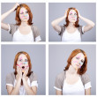 4 confused redhead businesswomen with notes on face. — Stock Photo #5564023