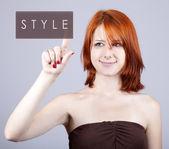Pulsante astratto moda giovane ragazza. — Foto Stock