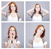4 confused redhead businesswomen with notes on face. — Stock Photo