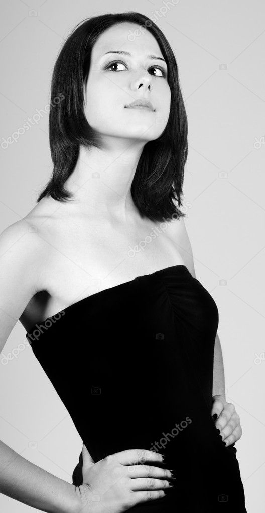Young fashion model girl. Photo in black and white style.  Stock Photo #5564017