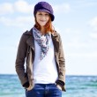 Fashion young women at the beach in sunny day. — Stock Photo #5633299