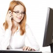 Young business woman calling by phone. — Stock Photo