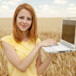 Redhead girl with laptop at wheat field. — Stock Photo