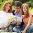 Three students at outdoor doing homework. — Stock Photo #6024690